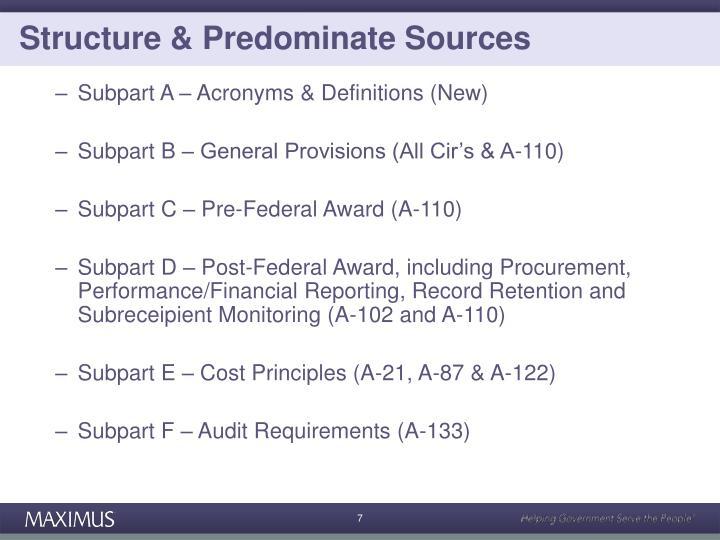 Structure & Predominate Sources