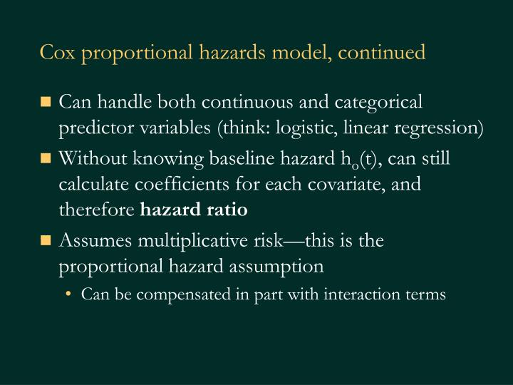 Cox proportional hazards model, continued