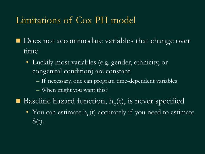 Limitations of Cox PH model