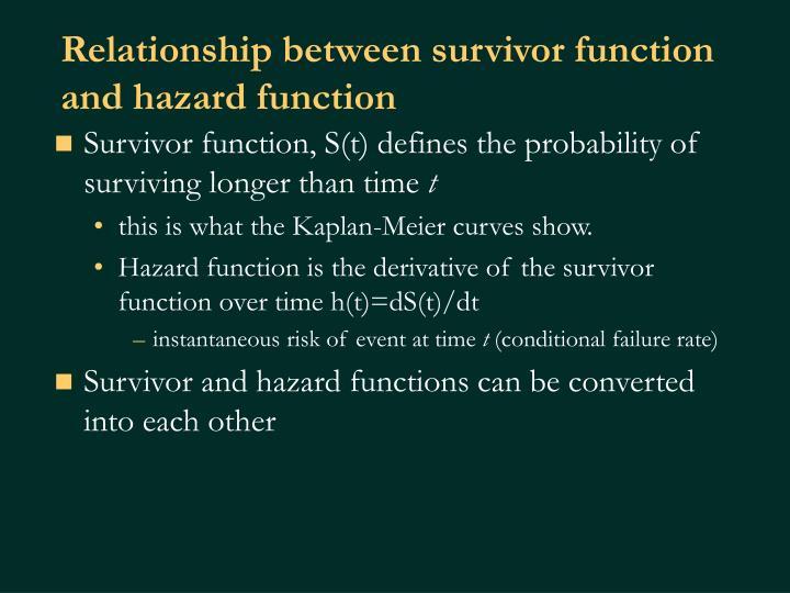 Relationship between survivor function and hazard function