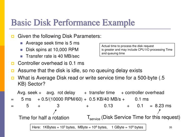 Basic Disk Performance Example
