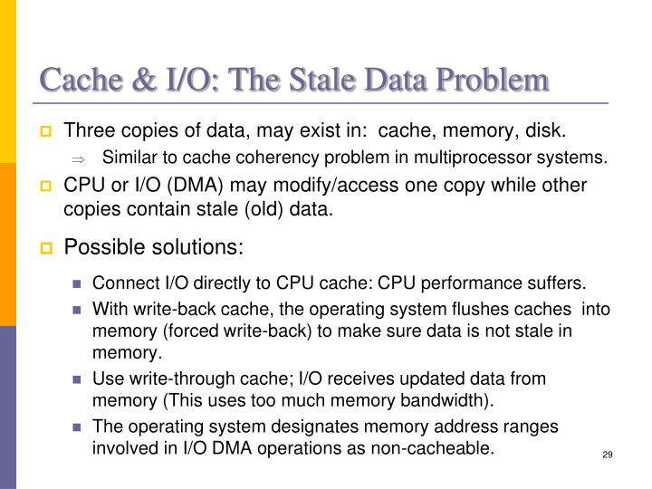 Cache & I/O: The Stale Data Problem