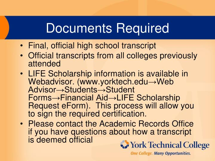 Documents Required