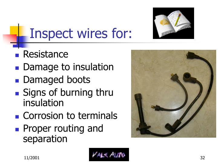 Inspect wires for: