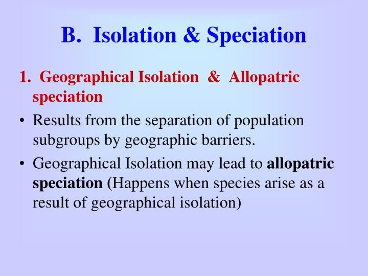 B.  Isolation & Speciation