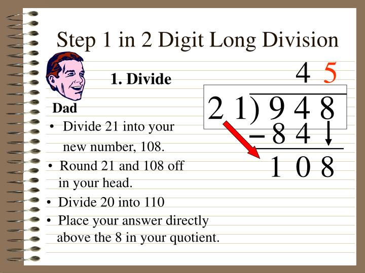 Step 1 in 2 Digit Long Division