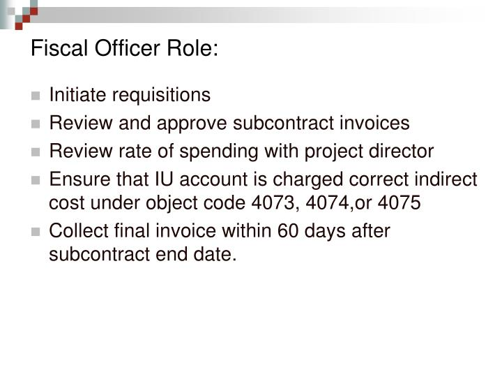 Fiscal Officer Role: