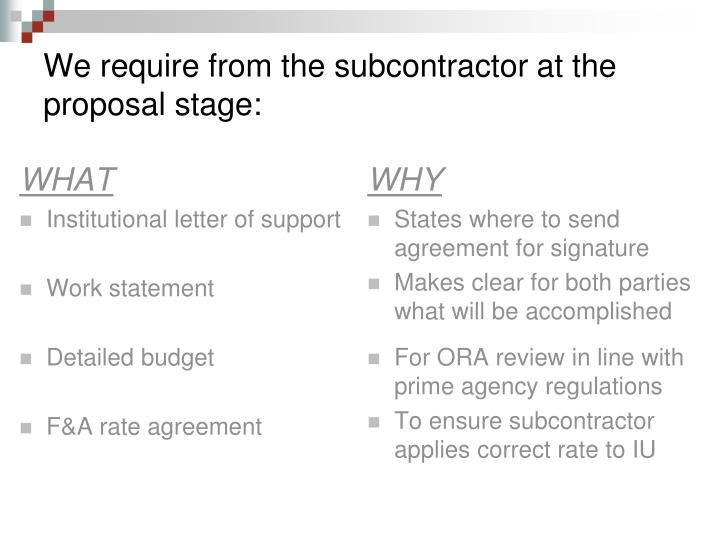 We require from the subcontractor at the proposal stage: