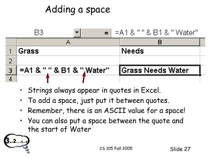 Adding a space