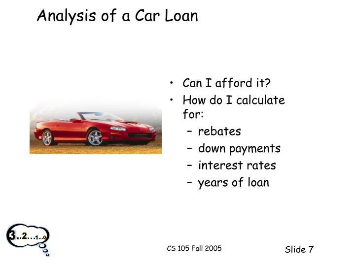 Analysis of a Car Loan