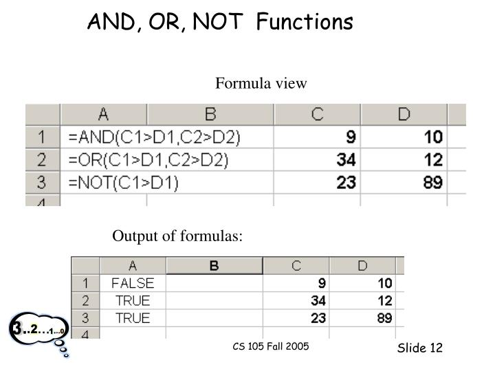 AND, OR, NOT  Functions