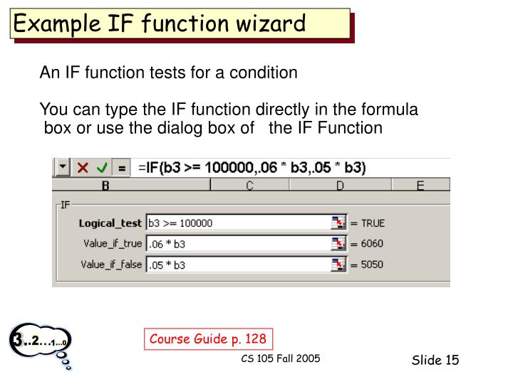 Example IF function wizard