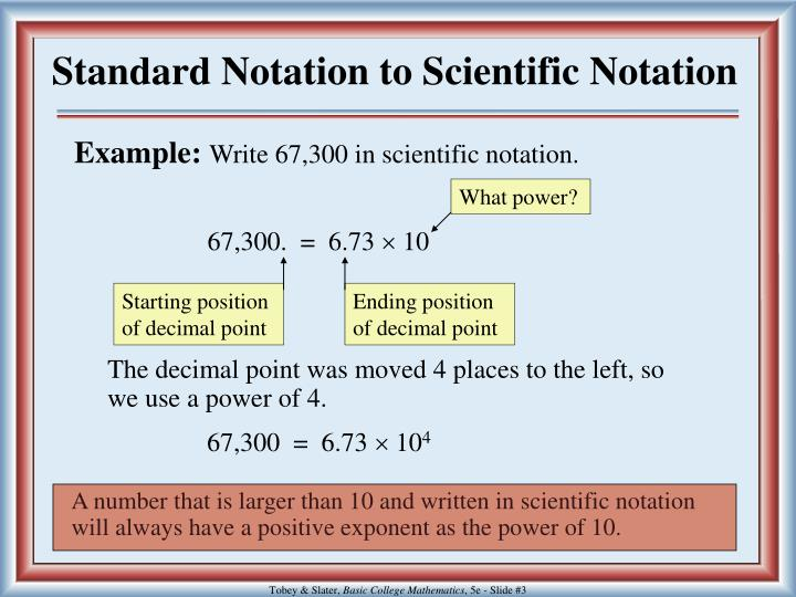 Standard notation to scientific notation