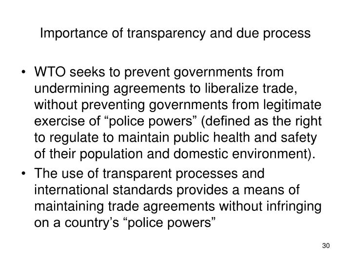 Importance of transparency and due process