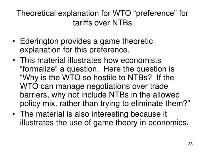 "Theoretical explanation for WTO ""preference"" for tariffs over NTBs"