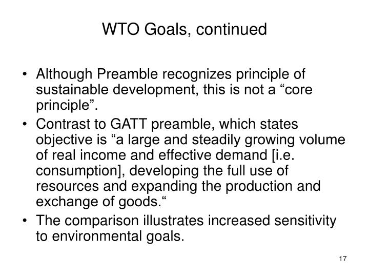 WTO Goals, continued