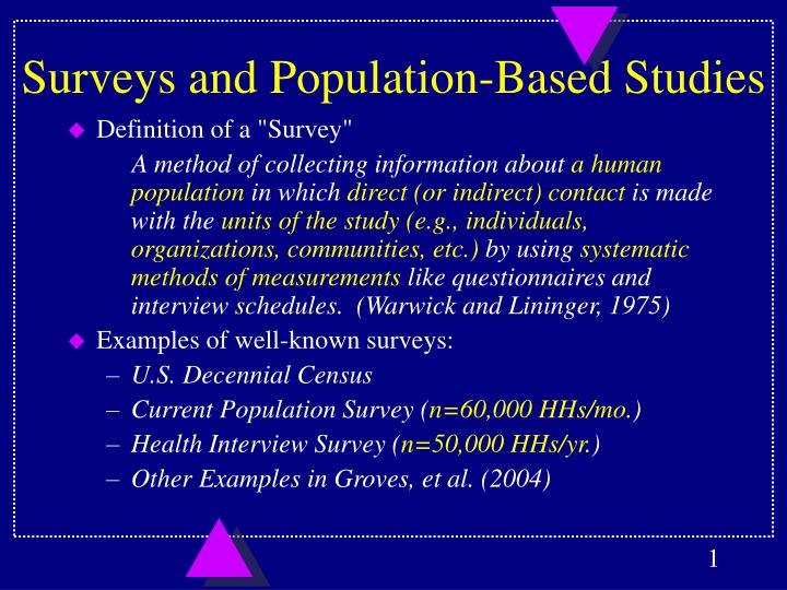 Surveys and population based studies