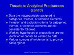 threats to analytical preciseness cont d