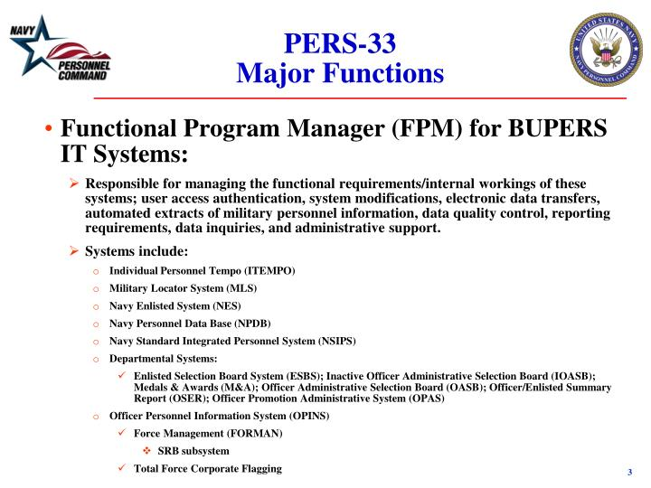 Pers 33 major functions