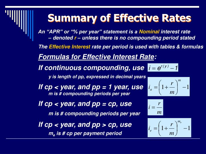 Summary of Effective Rates