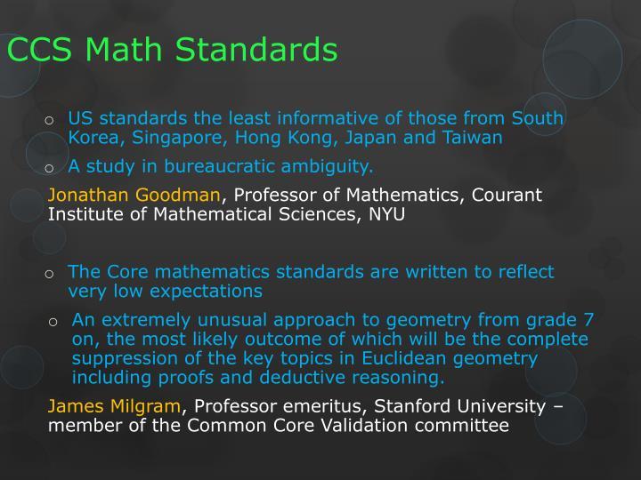 CCS Math Standards
