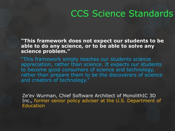 CCS Science Standards