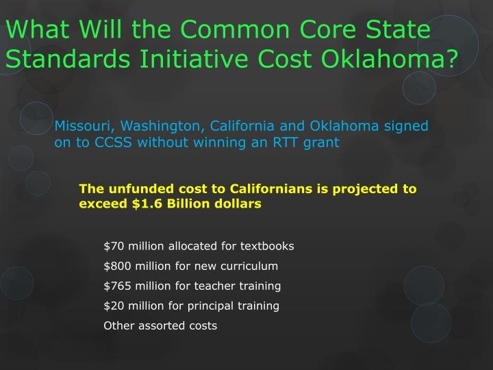 What Will the Common Core State Standards Initiative Cost Oklahoma?
