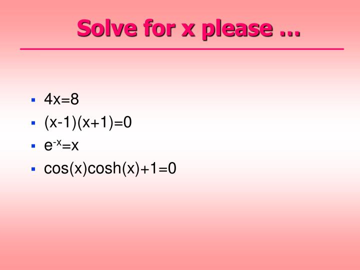 Solve for x please