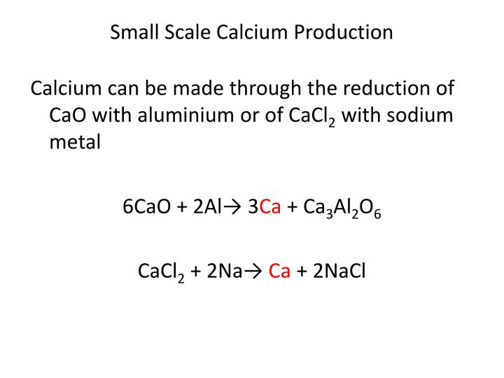 Small Scale Calcium Production
