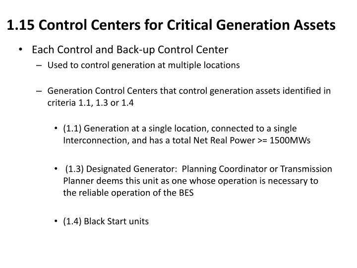 1.15 Control Centers for Critical Generation Assets