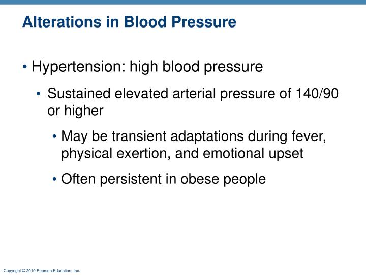 Alterations in Blood Pressure