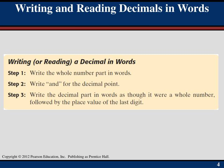Writing and Reading Decimals in Words