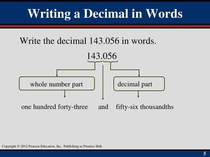 Writing a Decimal in Words