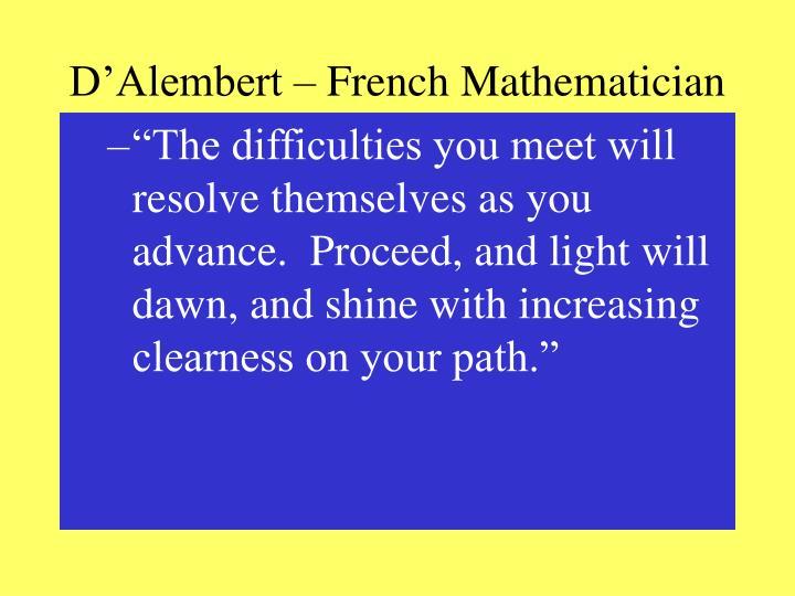 D'Alembert – French Mathematician