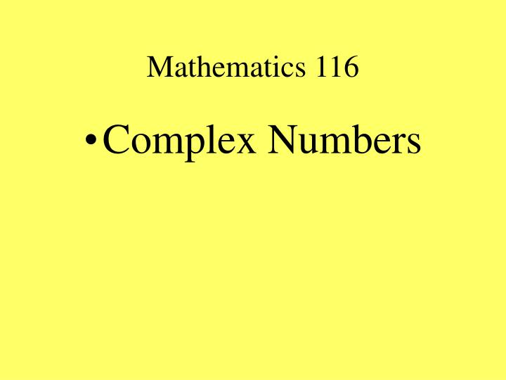 Mathematics 116