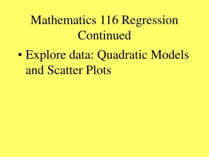 Mathematics 116 Regression