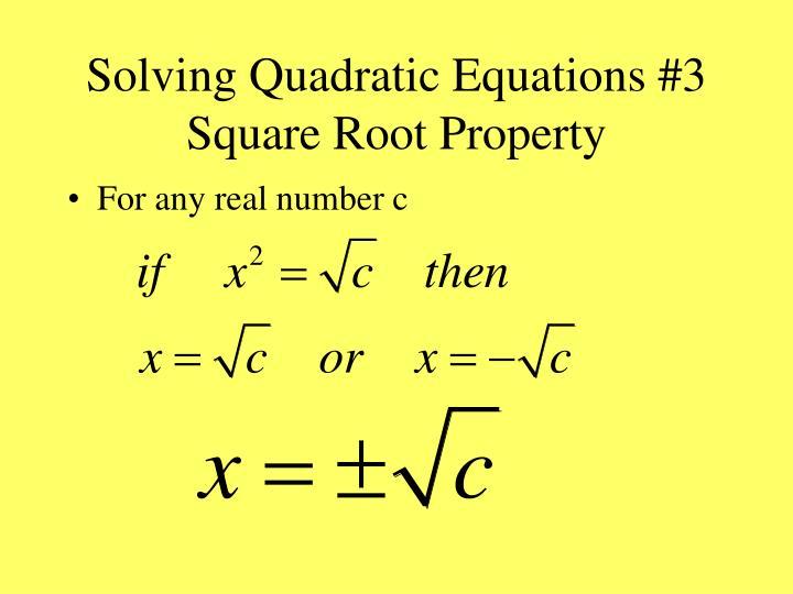 Solving Quadratic Equations #3