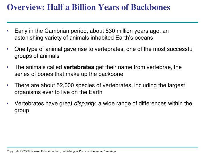 Overview half a billion years of backbones
