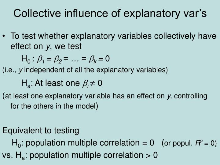 Collective influence of explanatory var's