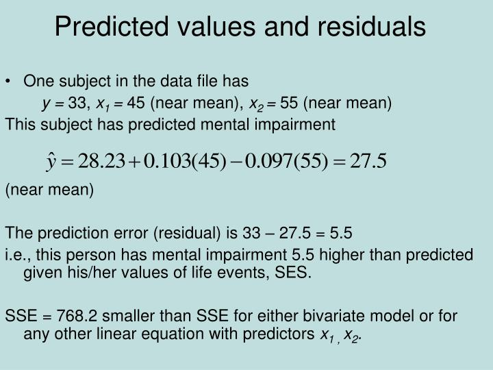 Predicted values and residuals