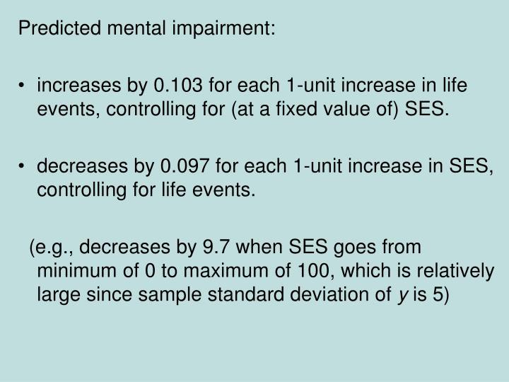 Predicted mental impairment: