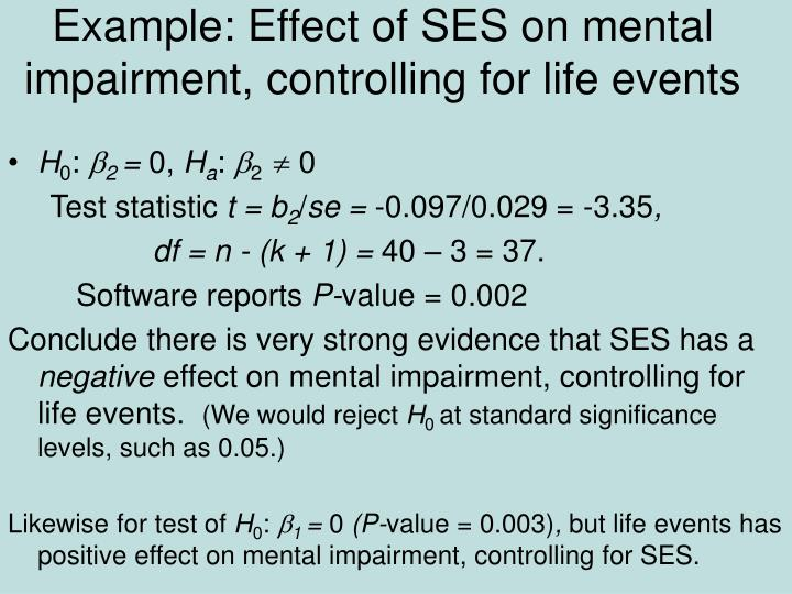 Example: Effect of SES on mental impairment, controlling for life events