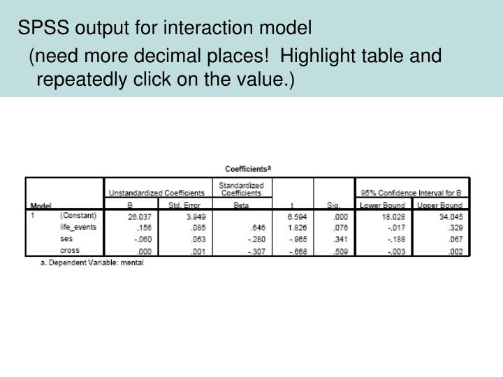 SPSS output for interaction model
