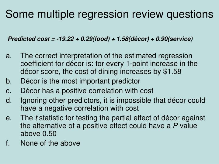 Some multiple regression review questions