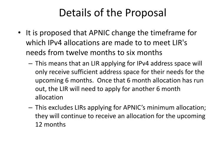 Details of the Proposal