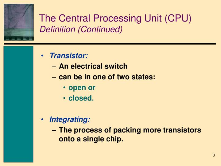 The central processing unit cpu definition continued