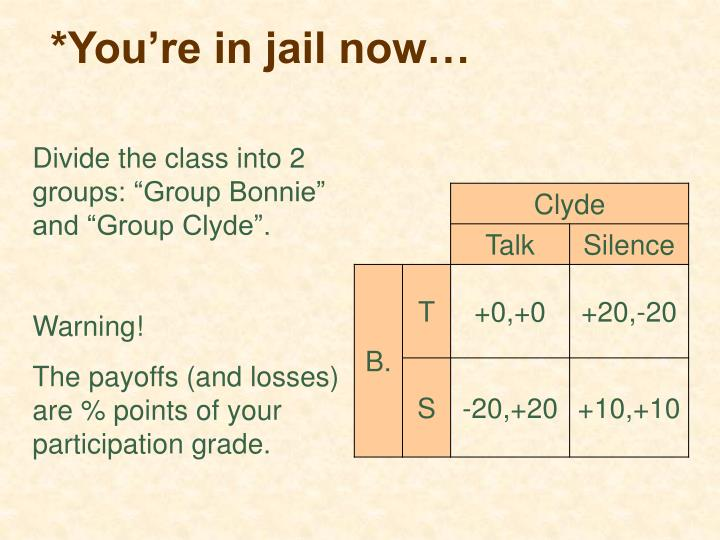 *You're in jail now…