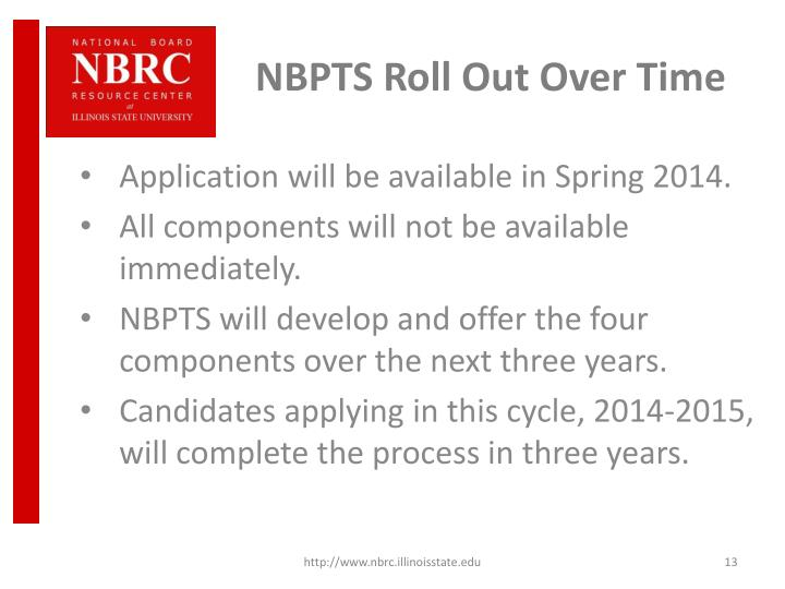 NBPTS Roll Out Over Time
