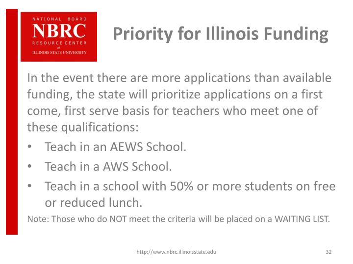 Priority for Illinois Funding