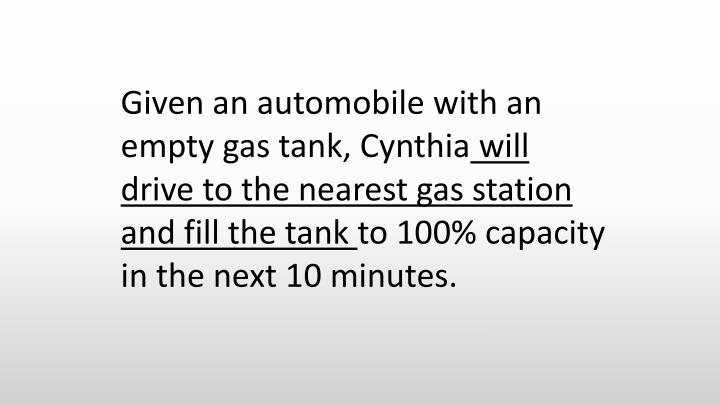 Given an automobile with an empty gas tank, Cynthia